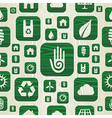 Environmental green icons pattern in organic wood vector image