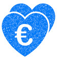euro favorites hearts grunge icon vector image