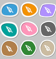 Feather icon symbols Multicolored paper stickers vector image
