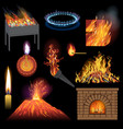 fire flame fired flaming bonfire in vector image