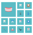 flat icons equipment artificial teeth furniture vector image
