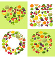 fruit and berries shape emblem template organic vector image vector image