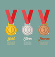 gold silver and bronze medals infographic vector image vector image