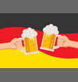 hands holding up beer mugs oktoberfest celebration vector image