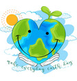 happy earth on white background vector image vector image