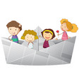 happy kids riding on paper boat vector image vector image