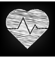 Heartbeat sign Scribble effect vector image vector image