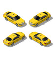 isometric 3d flat yellow taxi car set vector image