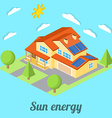 Low-energy house with solar panels For web design vector image vector image