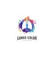 lungs with colorful logo health lungs logo vector image