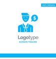 man work job dollar blue solid logo template vector image