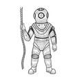 old diver sketch engraving vector image vector image