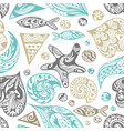 ornamental sea pattern vector image vector image