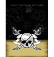 ornate frame with skull and arms vector image
