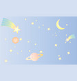 pattern star space sweet cute pastel blue vector image