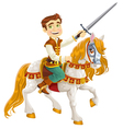 Prince Charming on a white horse ready for feats vector image vector image