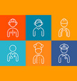 profession set line icons set people avatars vector image