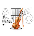 realistic violin and music notation flow vector image