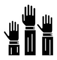 rights - 3 hands up icon vector image vector image