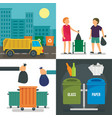 separation recycle bin banner set flat style vector image