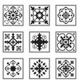 set ornamental tiles black and white pattern vector image