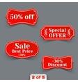set red sale paper retro labels vector image vector image