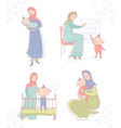 set with young muslim mother wearing a headscarf vector image vector image
