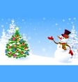 snowman welcomes decorated christmas tree vector image