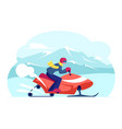 snowmobile rider wearing helmet riding fast by vector image