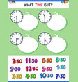 telling time clock face educational task vector image vector image