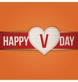 Valentines Day Heart Tag and Ribbon with Shadows vector image