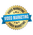 video marketing round isolated gold badge vector image vector image