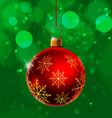 Red Christmas Ball on Green Background vector image