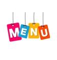 colorful hanging cardboard Tags - menu vector image