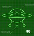 Ufo flying disc indicator on retro display vector image