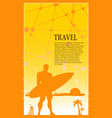a man posing with surfboard vector image vector image