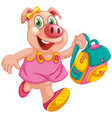 a pig student character vector image