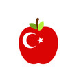 apple turkey flag turkish national fruit vector image vector image