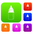 baby milk bottle set color collection vector image vector image
