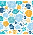 Blue and yellow flowersilhouettes seamless pattern vector image vector image
