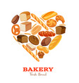 bread products heart shaped vector image