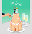 bride and groom cutting wedding cake together vector image vector image