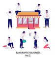 business bankruptcy character set flat vector image