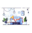 cartoon blonde relaxing with laptop on sofa vector image vector image