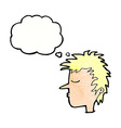 cartoon male face with thought bubble vector image vector image