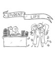 cartoon student life one student is learning vector image vector image