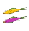 Cartoon yellow and violet fish characters vector image vector image