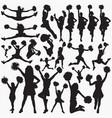 cheerleader silhouettes vector image vector image