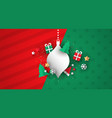 christmas card template 3d paper decoration vector image