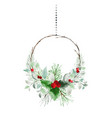 christmas wreath hanging watercolor with pine vector image vector image